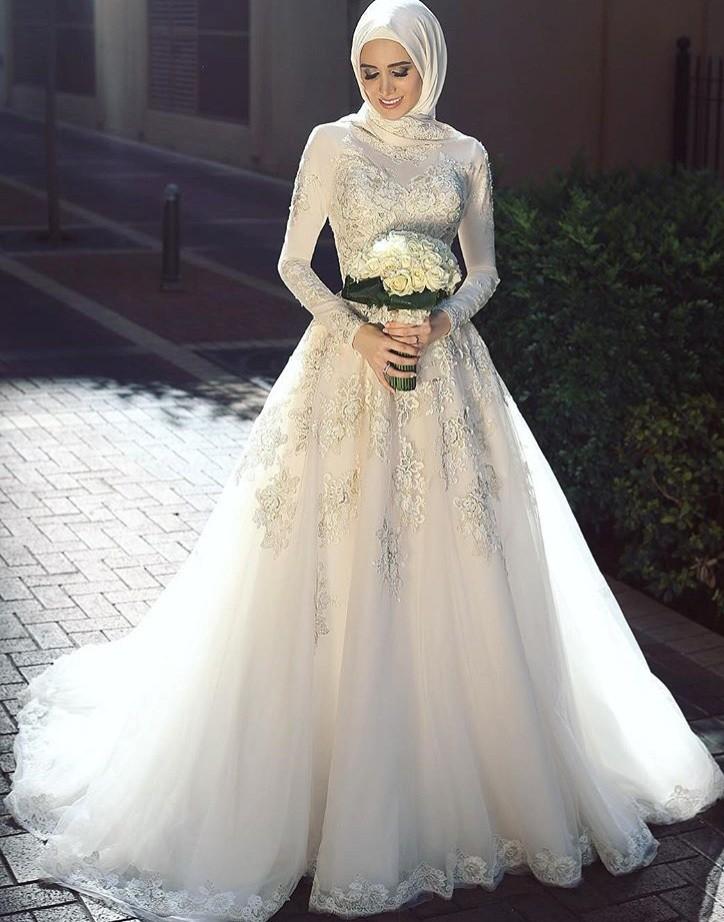 بالصور فساتين زفاف للمحجبات , فساتين افراح 3701 6