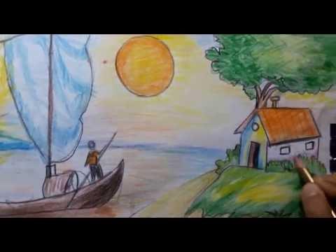 صوره رسم منظر طبيعي للاطفال , تعليم الاطفال كيف يرسمون منظر طبيعى