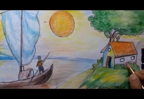 صورة رسم منظر طبيعي سهل للاطفال , اطفالنا هم قرة اعيننا