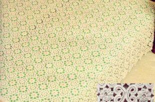 صورة مفارش سرير كروشية بالباترون , اروع مفارش كروشية للسراير