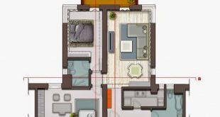 صور تصميم شقق صغيرة 100 متر , مخططات لشقة مساحة 100 متر صغيرة