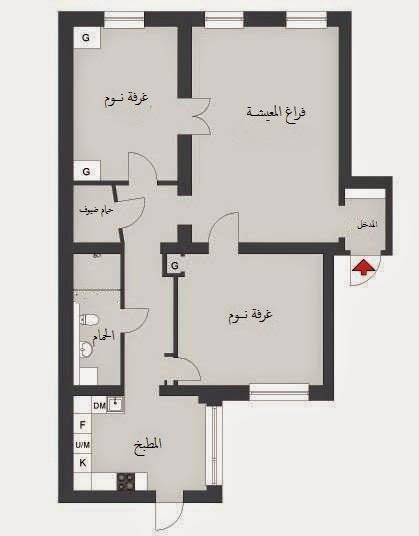 بالصور تصميم شقق صغيرة 100 متر , مخططات لشقة مساحة 100 متر صغيرة 12282 6