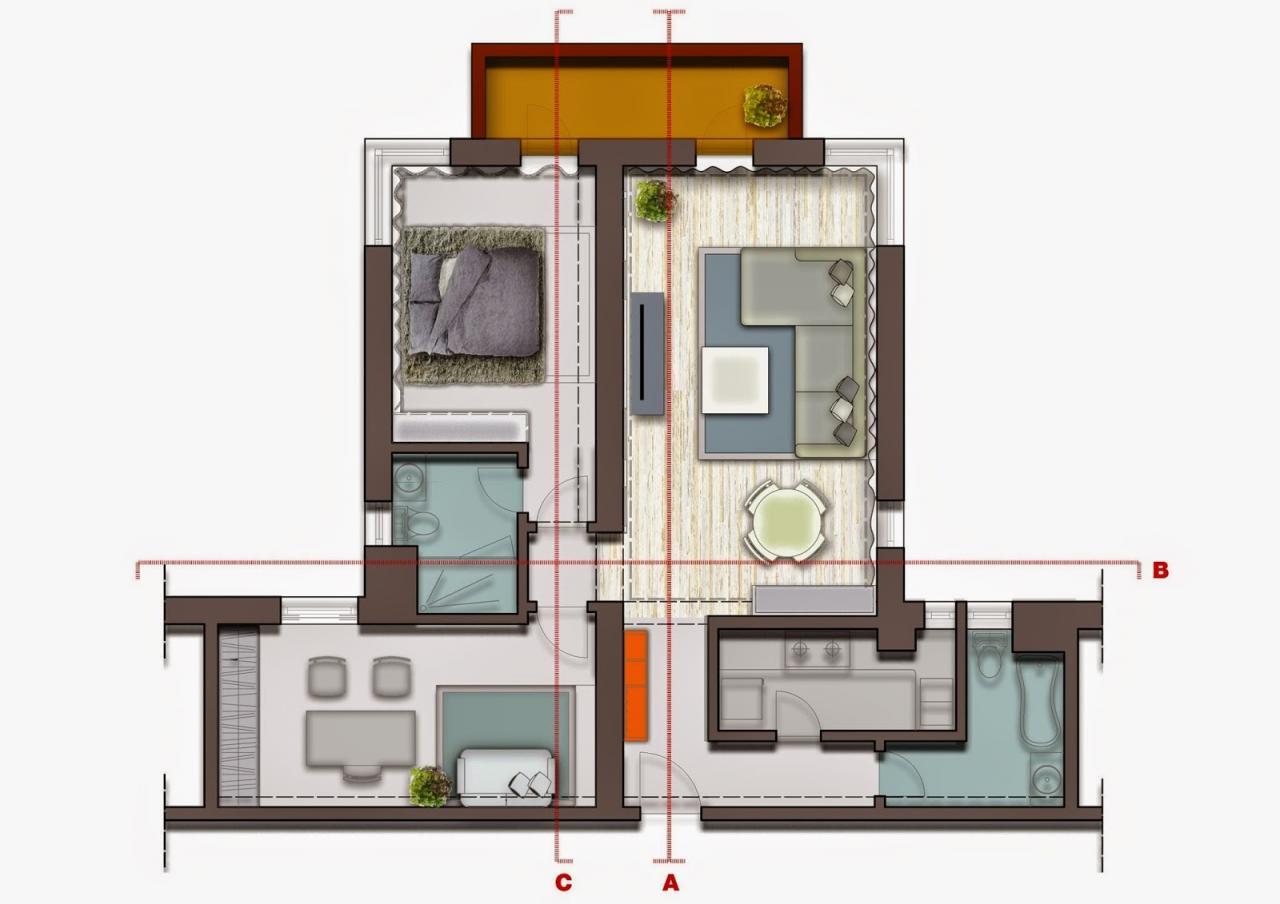 بالصور تصميم شقق صغيرة 100 متر , مخططات لشقة مساحة 100 متر صغيرة 12282